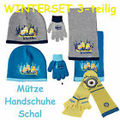 Minion Minions Sofia Cars Frozen Disney Mickey Mütze Handschuhe Schal Set Winter